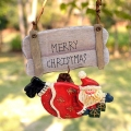 Santa Claus Christmas Wooden Welcome Hanging Message Board