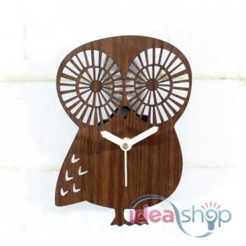 Cute Owl Wooden Colour Silent Wall Clock