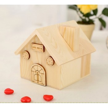 Wooden Love House Coin Bank